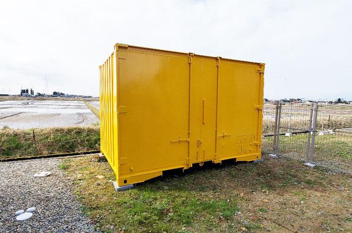 富山県中新川郡 中古コンテナ12ftサフランイエロー塗装設置
