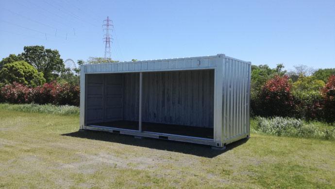 羽島郡笠松町 中古コンテナ20ftフルシャッター付・シルバー塗装設置
