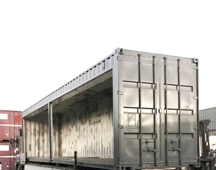 静岡県浜松市 中古コンテナ40ftフルシャッター付き・グレー塗装設置