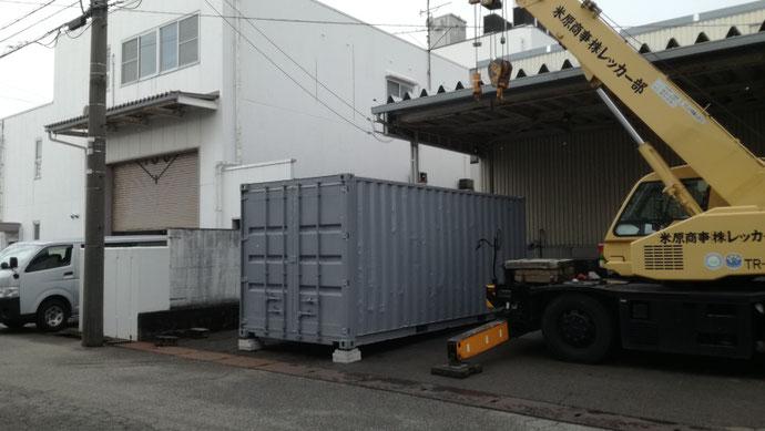 愛知県弥富市 中古コンテナ20ftハイキューブ内装改造品設置