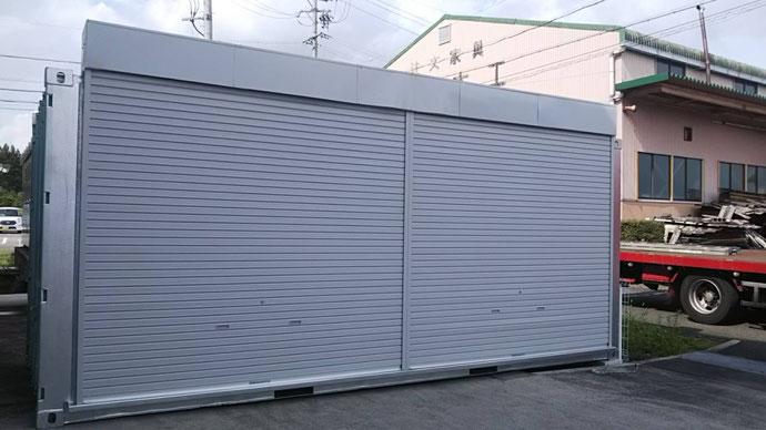 関市千疋 中古コンテナ20ftフルシャッター・シルバー塗装設置