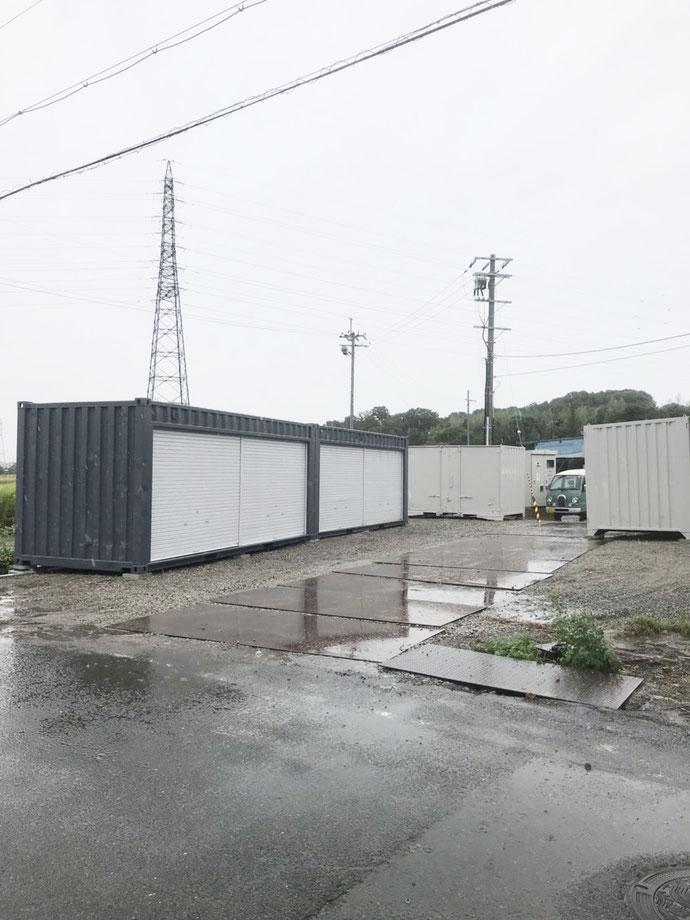 滋賀県 愛知郡 中古 コンテナ 20ft フルシャッター グレー 12ft 貨物 アイボリー