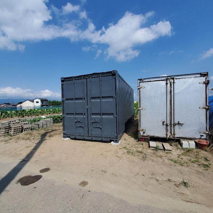 岐阜県海津市 中古コンテナ20ftグレー設置