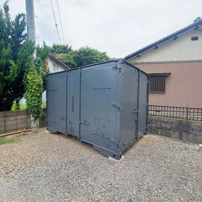 岐阜県大垣市 中古貨物コンテナ12ftグレー設置