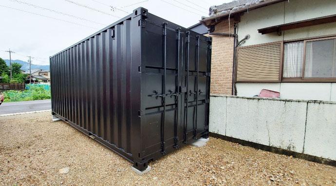 岐阜市粟野東 NEWVANコンテナ20ftマットブラック塗装設置