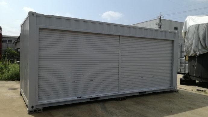岡山県倉敷市 中古コンテナ20ft フルシャッター・グレー塗装設置