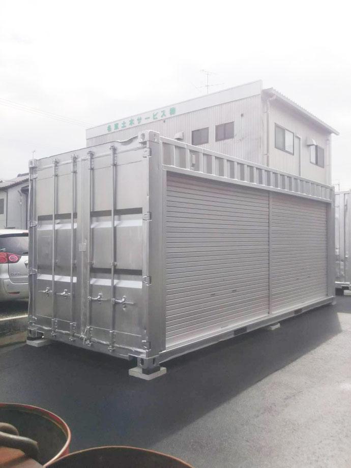 名古屋市守山区 中古コンテナ20ftフルシャッター・シルバー・ガラリ・電気工事設置