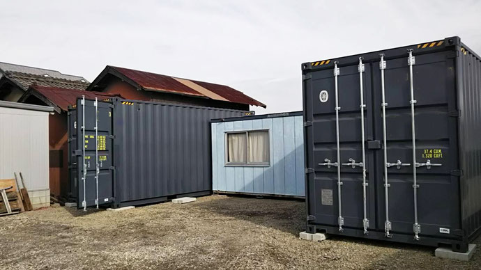 滋賀県東近江市 NEWVANコンテナ20ftハイキューブ グレー2本設置
