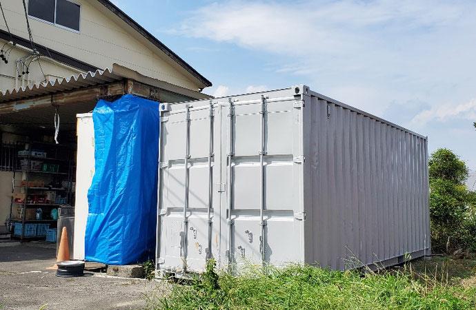 愛知県稲沢市 中古コンテナ20ftグレー塗装設置