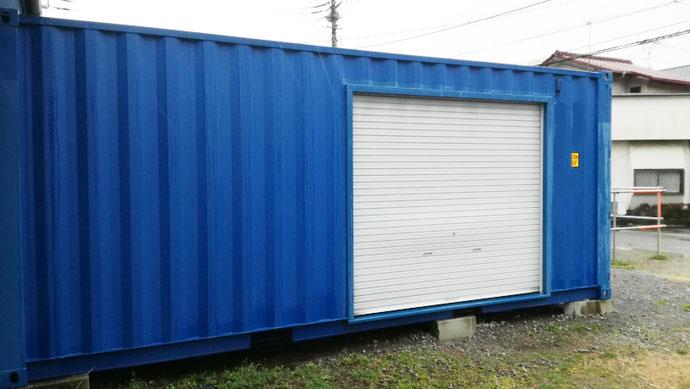 千葉県市原市 NEW VANコンテナ20ftブルー2300シャッター付き設置