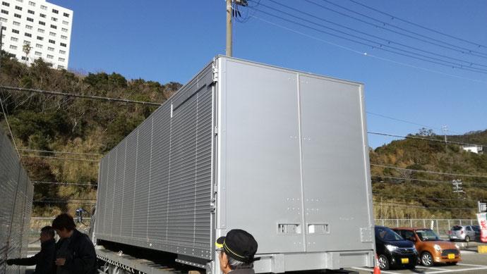和歌山県東牟婁郡 中古大型アルミコンテナダブルゲート設置