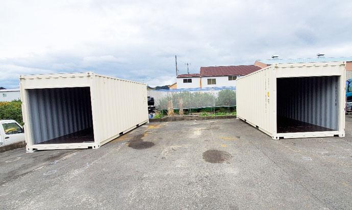 和歌山県和歌山市 NEWVANコンテナ20ft観音シャッター付2本設置