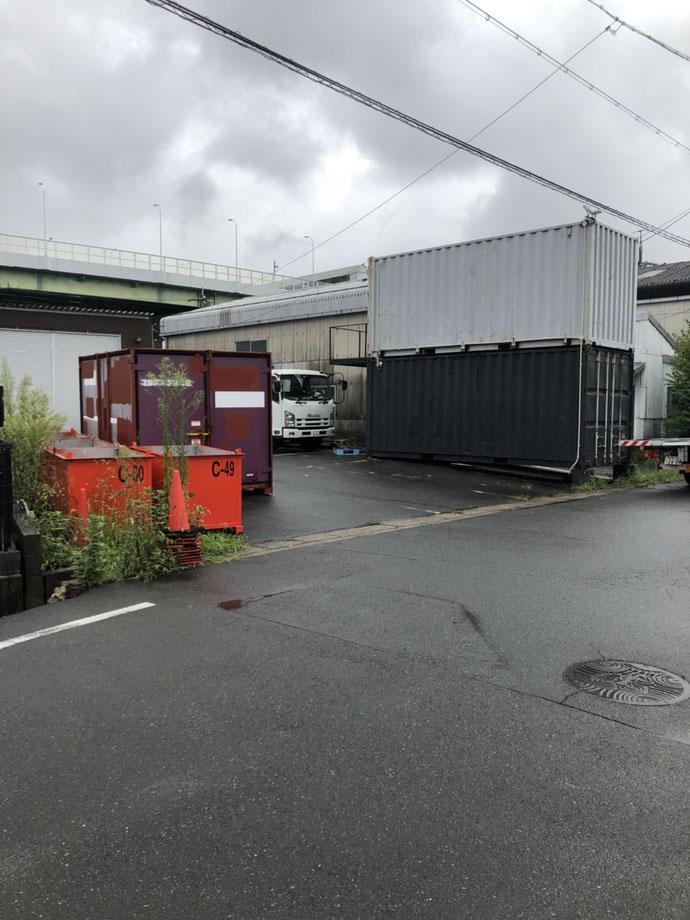 愛知県名古屋市 中古貨物コンテナ12ft現状品L字納品