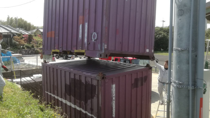 兵庫県加東市 中古コンテナ12ft現状品2本設置