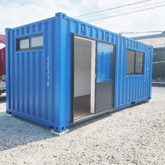 安八郡安八町 NEWVANコンテナ20ftブルー内装・片引き戸・窓付設置