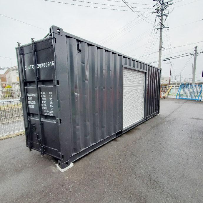 羽島郡岐南町 中古コンテナ20ftシャッター換気扇LED照明×2ブラック塗装設置
