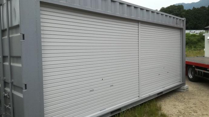 福井県高浜町 中古コンテナ20ftグレー塗装シャッター付納品