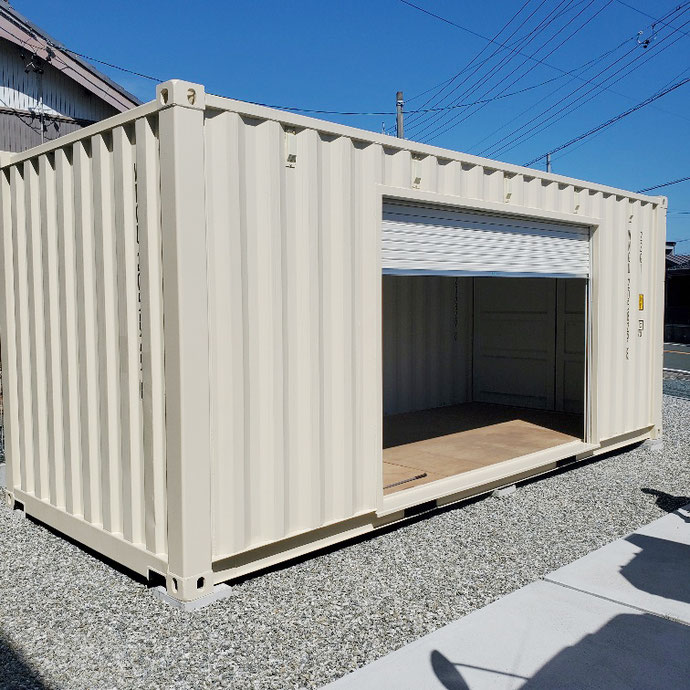 静岡県浜松市 NEWVANコンテナ3000シャッター付アイボリー納品
