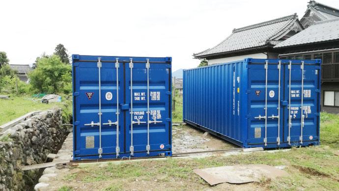 福井県大野市 NEWVANコンテナ20ftブルー・換気口付2本設置