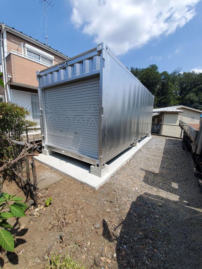 東京都八王子市 アルミ複合コンテナ20ft妻シャッター納品