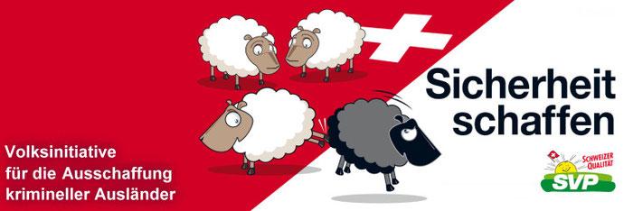 Plakat fra Schweizer Volkspartei