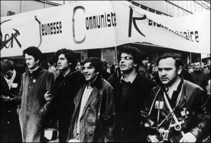 Fra venstre: Henri Weber, Gaston Salvatore, Rudi Dutschke, Alain Krivine, ... Berlin februar 1968