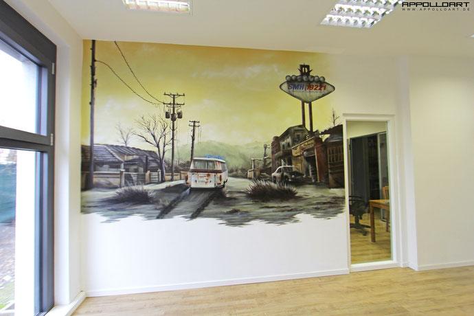 graffitikünstler Berlin gestalten eine Wand im Büro einer großen Firma