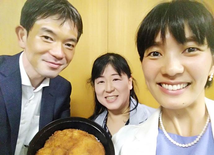 左から、一之瀬幸生・加藤博美・澤田真由美で (福井県名物:ソースカツ丼)