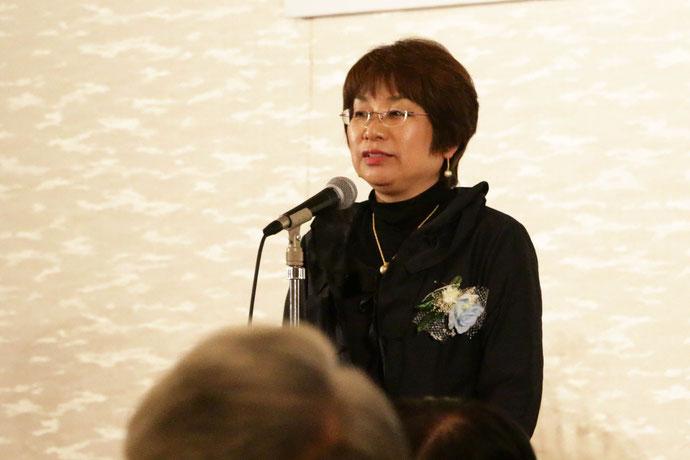 受賞報告会の様子。閉会のあいさつ  副理事長 森本洋子