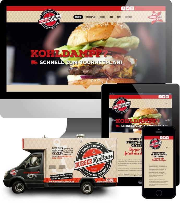 Jimdo responsive Web Design Burgerkultour - Foodtruck in Hamburg