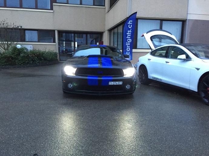 FORD MUSTANG  im neuen LED Licht by www.carlights.ch die alten H7 Halogen Lampen mit LED H7 von carlights.ch Swiss Made umgetauscht... Was für ein Unterschied:)