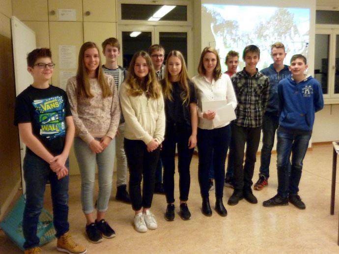 De gauche à droite : Théo, Anne-Laure, Michael, Céline, Samuel, Emma, Emilie (intervenante), Maxime, Luca, Arthur et Marc.