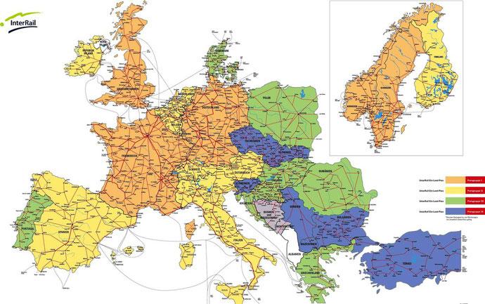 Mapa de paises de Interrail