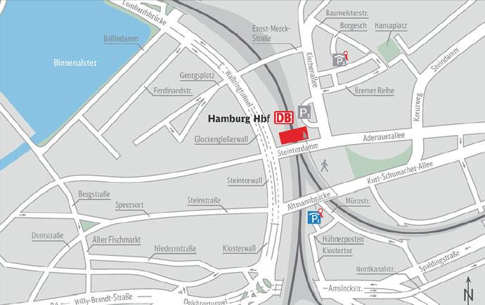 Plano alrededores de la estación de Hamburgo