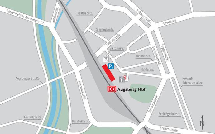 Plano de Augsburg. ALrededores de la estación
