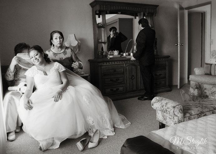 novia, vestido, boda, familia