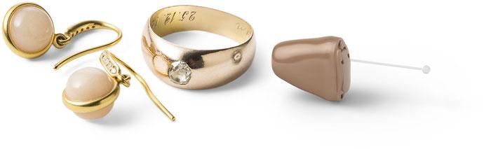 Oticon CIC Hörgerät im Ohr Ohrring gold Ring Schmuck