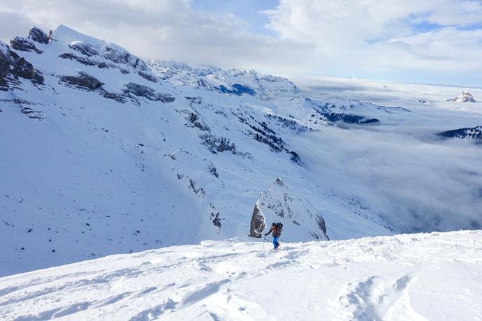 Skitour, Schwyz, Zentralschweiz, ÖV, Rossstelli, Weglosen, Twäriberg, Druesberg, Forstberg, Gross Mythen