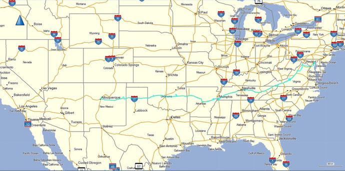 Die Anreise bis Albuquerque