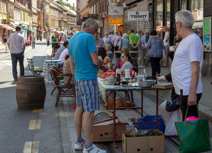 Zagrebo Britanac sendaikčių turgus įsiterpęs į gatves