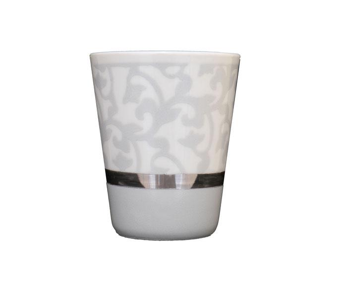 Nara Porcelaine - Trianon Gobelet Pot à Crayon Photophore Gris Argent et Platine