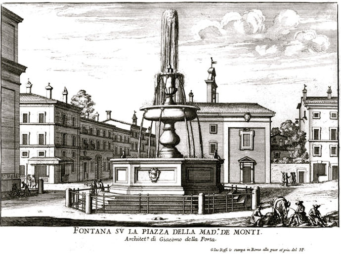 """""""Falda Sergio e Bacco"""" di Giovanni Battista Falda - Le fontane di Roma. Con licenza Pubblico dominio tramite Wikimedia Commons."""
