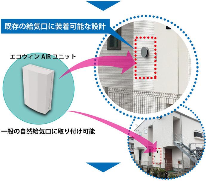 既存の給気口に装置可能な設計 取り付け可能