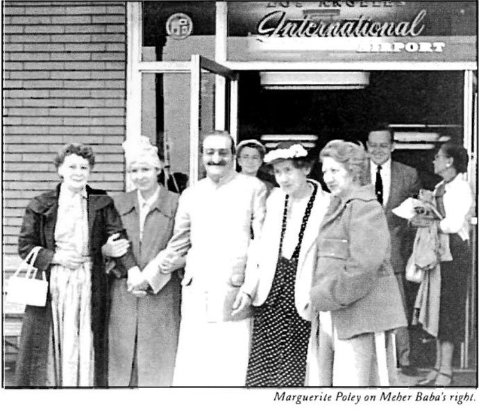 LSLP; Jan-March 1998 p.15 - Los Angeles Int.Airport ; Ruth White next to Meher Baba in the poker-dot dress.