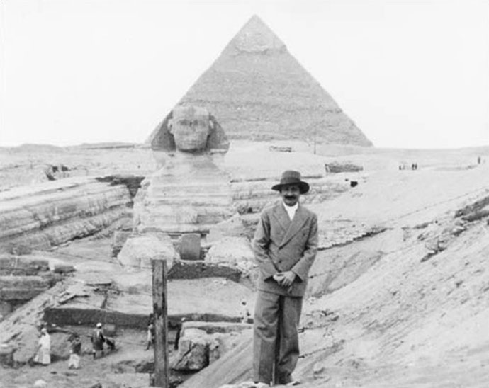 Baba at Giza in front of the Sphinx & pyramid of Chephrum, January 1933
