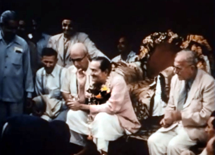 1954 : Ahmednagar, India - Charles is sitting on Meher Baba's right during the Darshan programme.