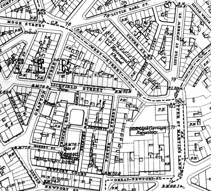 Old map shows the then Episcopal Chuch at the location ; Courstey of Paul Edwards