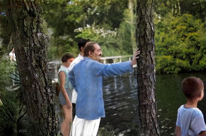 Meher Baba viewing the Meher Center Long Lake - July 1956. There is a cropped image of the above in LM ; p.4996