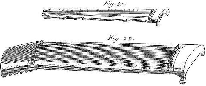 Kin à sept cordes. Il y a trois sortes de kin, qui ne diffèrent entr'eux que par la grandeur : le grand kin, le kin moyen, & le petit kin. Le corps de cet instrument est fait de bois de toung-mou.