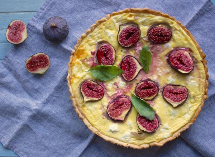 Tarte salée aux figues, jambon et chèvre frais